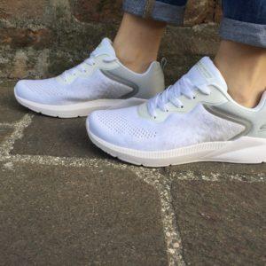 skechers sneaker bianco white memory foam 117010/wht ariana-metro racket