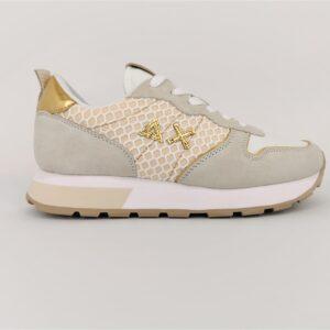 sun68 sneakers bianco panna oro z31205 3143 ally big mesh