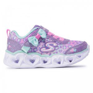 Skechers sneakers da bambina multicolor lavanda, verde acqua, rosa con luci a forma di cuore.