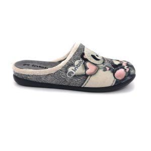 Inblu pantofola donna colore grigio con fantasia pupazzetti e brillantini