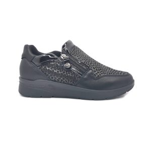 Imac scarpa comfort da donna nero in pelle made in Italy.