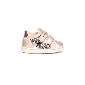 Sneakers Nero Giardini da bambina in pelle color saturn.