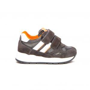 Sneakers Nero Giardini bambino grigio in pelle con dettagli fluo