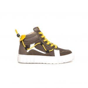 Sneakers teens ragazzo Nero Giardini color bosco in pelle e camoscio, made in Italy.